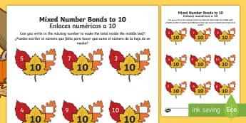 Autumn Leaf Mixed Number Bonds to 10 Activity Sheet English/Spanish  - autumn, leaves, number bonds, addition pairs, adding to 10, numeracy, maths, year 1, y1,, worksheet,