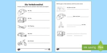 Transport and Travel Activity Sheet German - Transport, Travel, German, languages, MFL, Germany, Deutschland, Verkehrsmittel, DAF, DAZ, worksheet