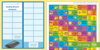 KS2 Emoji Themed Reading Sticker Reward Bookmarks - Y3, Home Readers, Reading Log, Stickers, Motivation