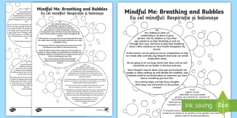 Mindful Me: Breathing and Bubbles Activity English/Romanian - Mindfulness, coping strategies, positive thinking, calming down, EAL, meditation