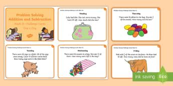 Week 21 - Problem Solving Challenge Cards - Problem, Word Problem, Rude, Addition, Subtraction,Irish