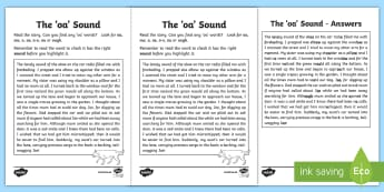 Northern Ireland Linguistic Phonics Stage 5 and 6, Phase 4b, 'oa' Sound Text Activity Sheet -  Linguistic Phonics, Stage 5, Stage 6, Phase 4b, NI, Northern Ireland, 'oa' sound, Worksheet, so