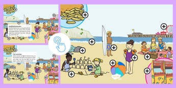 Seaside Picture Hotspots - interactive, coastal, beach, sea, activity, Twinkl Go, twinkl go, TwinklGo, twinklgo