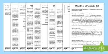 CfE First Level What Does a Paramedic Do Cloze Passage Differentiated Activity Sheet - Cloze reading, vocabulary, reading, comprehension, people who help us, paramedics, worksheet
