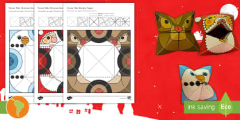 Simple 3D Christmas Fortune Teller Puppet Pack Paper Craft US English/Spanish (Latin) - xmas, craft, paper, Christmas, father christmas, saint nicholas, make, origami, snowman, snow, rudol