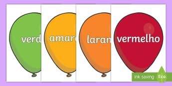 Nomes de cores em balões  - cores, cor, distincao, vocabulario, ortografia, colorido - cores, cor, distincao, vocabulario, ortografia, colorido