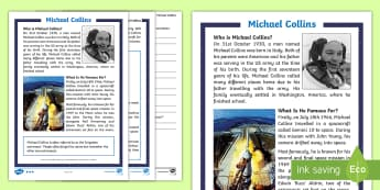 KS1 Michael Collins Differentiated Reading Comprehension Activity - Buzz Aldrin, Neil Armstrong, Astronaut, Space, Moon, non-fiction, biography, english