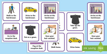 Going to the Hairdresser Visual Support Picture Cards - going to the hairdressers, haircut, hair wash, visual timetable