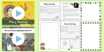 KS1 International Women's Day History Resource Pack - women, women's day, florence nightingale, mary anning, grace darling, amy johnson, significant indi