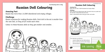 Russian Doll Colouring Activity Sheet - amazing fact august, KS1, amazing fact, Russia, indoor play, patterns, worksheet