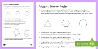 Polygons: Exterior Angles Activity Sheet - exterior angles, interior angles, polygons, angles, worksheet, 360.