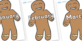 Months of the Year on Gingerbread Men - Months of the Year, Months poster, Months display, display, poster, frieze, Months, month, January, February, March, April, May, June, July, August, September