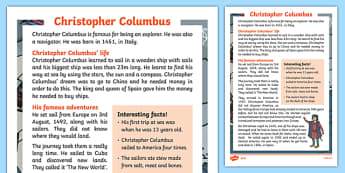 Christopher Columbus Explorer Differentiated Fact File