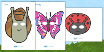 Minibeasts Role Play Masks - Role play, Role Play masks, Minibeasts, minibeast investigation, minibeast display, Minibeasts, Topic, Foundation stage, knowledge and understanding of the world, investigation, living things