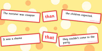 Sentence Matching Game Conjunctions Than That - Connectives