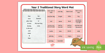 Year 2 Traditional Story Word Mat - Example Texts Y2, story writing, traditional stories, word mat, story language