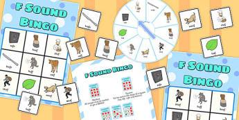 Final 'F' Sound Spinner Bingo - final f, sound, spinner, bingo