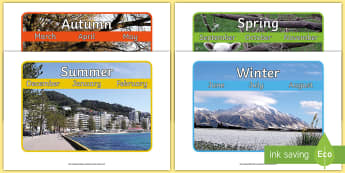 Seasons and Months in New Zealand Display Posters - New Zealand, Winter, Seasons, Snow, Skiing, Snowboarding, Mountains, Ski Fields, Snow Day