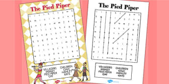 The Pied Piper Wordsearch - wordsearch, pied piper, story, lead
