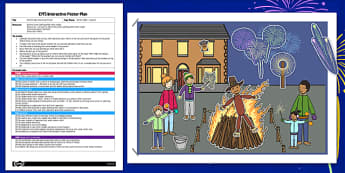 Bonfire Night EYFS Interactive Poster Plan - bonfire night, eyfs, interactive, poster, plan, display