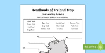 Headlands of Ireland Map Activity Sheet-Irish