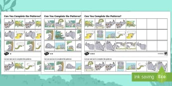 Ronald the Rhino Complete the Pattern Activity Sheet - Ronald the Rhino, rhyming, pattern, story, jungle, Africa, rhino,