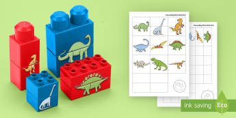Dinosaurs Matching Connecting Bricks Game - EYFS, Early Years, KS1, Connecting Bricks Resources, duplo, lego, plastic bricks, building bricks, d