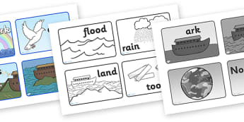 Noah's Ark Visual Aids Sequencing - Noah's Ark, visual aid, aid, noah, bible story, tools, ark, animals, sequencing, story sequencing, story resources, A4, cards, rain, rainbow, flood, dove, land