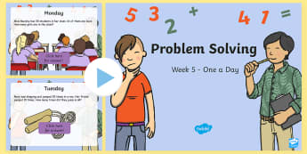 Week 5 - Problem Solving - One a Day - PowerPoint - Problem Solving, Word Problems, One Step, Two Step, Addition, Subtraction,Irish
