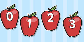 Numbers 0-100 on Apples - numbers 0-100, apples, fruit, number