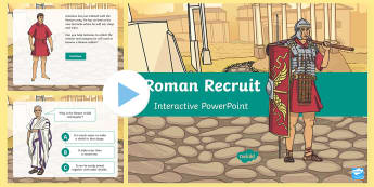 Roman Recruit PowerPoint - Romans, soldier, armour, army, weapon, shield, backpack, sandals, helmet, belt, sword, spear, javeli