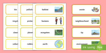 F-2 Keep Australia Beautiful Word Cards - KAB, Recycling, Sustainability, Foundation, Yr 1, Yr 2, Litter, word cards, vocabulary,Australia