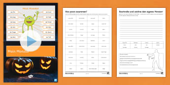 Mein Monster Halloween Differentiated PowerPoint German - Body Parts, Halloween, Adjectives, Grammar, Year 7/8,German