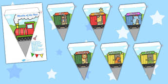 Months of the Year Animal Train Bunting - bunting, decorations, display, display bunting, months of the year, animals, months of the year on train, animals in train, animals months train, classroom decorations, for decorating your classroom