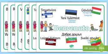 Mixed language welcome Word Mat English/French - Mixed Language Welcome Word Mats - Welcome sign, bienvenido, bienvenue, wilkommen, welcome, language