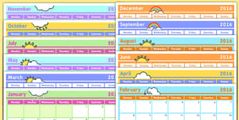 Monthly Calendar Planning Template 2016 - monthly, calendar, planning, template, 2016