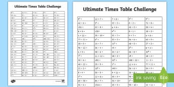 UKS2 Ultimate Times Tables Challenge Activity Sheet - KS2, UKS2, Year 5, Year 6, Y5, Y6, maths, times tables, challenge