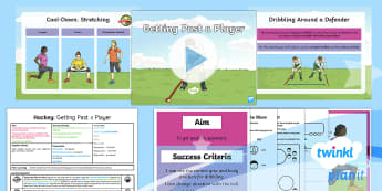 PlanIt - PE Year 4 - Hockey Lesson 3: Getting Past a Player Lesson Pack - Hockey, dribble, Indian Dribble, attacking, invasion games, KS2, PlanIt, Y4