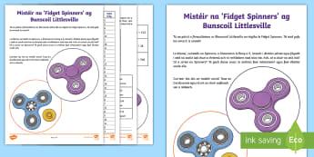 Cluiche Mata: Mistéir an Chluiche 'Fidget Spinners' - maths mystery game, cluiche dúshlain, problem solving, réiteach fadhbanna, mystery game, cluiche m