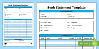 Bank Statement Template - CfE, everyday maths, real life maths, money problems, budgeting