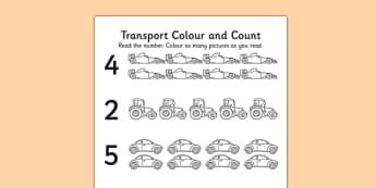 Transport Themed Count and Colour Sheet - counting, colouring