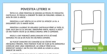 Litera H Poveste - poveste, povestea literei h, clasa pregătitoare, alfabet, litere, clasa I,Romanian