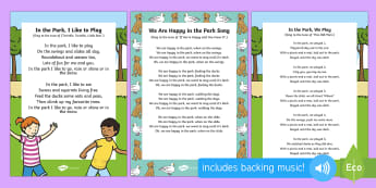 At the Park Songs and Rhymes Resource Pack - EYFS Parks and Gardens, playgrounds, singing, song time, swings, slide