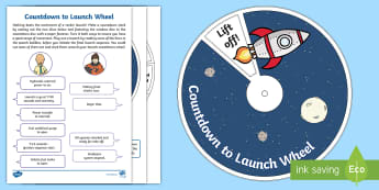 Countdown to Launch Wheel Activity Sheet - countdown, mission launch, blast off, mission control, space role play, worksheet
