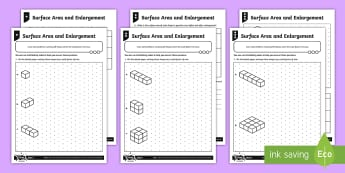 Surface Area and Enlargement Differentiated Activity Sheets - Ratio and Proportion, scale, scale factor, enlargement, surface area, 3D shapes
