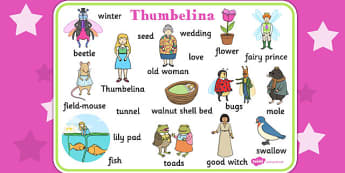 Thumbelina Word Mat - stories, books, visual aid, keywords, read
