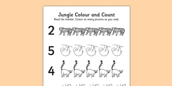 Jungle Themed Count and Colour Sheet - colour, count, jungle