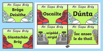An Siopa Bróg Shoe Shop Role Play Signs Gaeilge - irish, gaeilge, Shoe shop, shoes, role play, shop, trainers, display, poster, shoe box, labels, measuring chart, word cards