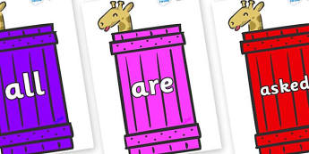 Tricky Words on Giraffes (Crate) to Support Teaching on Dear Zoo - Tricky words, DfES Letters and Sounds, Letters and sounds, display, words