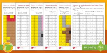 Ficha de actividad de atención a la diversidad: Mosaico de multiplicación - Año Nuevo Chino - china, multiplicar, mates, matemáticas, operaciones, colorear, pintar,,Spanish
